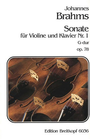 Brahms, Johannes: Sonata #1 Op.78 G maj (violin & piano)