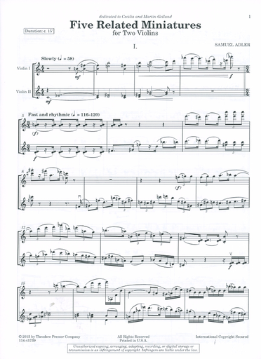 Carl Fischer Adler, Samuel: Five Related Miniatures for Two Violins - set of two performance scores