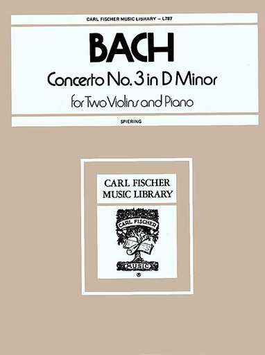 Carl Fischer Bach, J.S. (Spiering): Concerto in D minor, BWV1043 (2 violins, and piano)