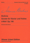 Carl Fischer Brahms, Johannes: Sonata #3 Op.108 d mi (violin & piano)