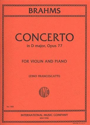 International Music Company Brahms, Johannes (Francescatti): Concerto in D major Op.77 (violin & piano) IMC
