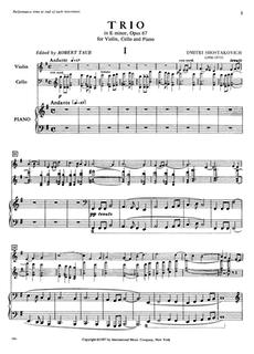 International Music Company Shostakovich: Trio in E minor, Op. 67 (violin, cello, piano) IMC