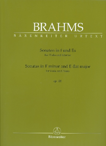 Barenreiter Brahms, Johannes (Brown): Sonata in F minor and E-flat major (viola and piano) Barenreiter Urtext