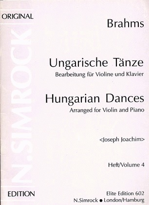 HAL LEONARD Brahms, Johannes (Joachim): Hungarian Dances Vol.4 #17-21 (violin & piano)