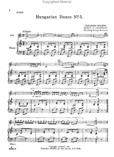 Carl Fischer Brahms (Ambrosio/Perlman): Hungarian Dance No. 5 arrangement (violin & piano)