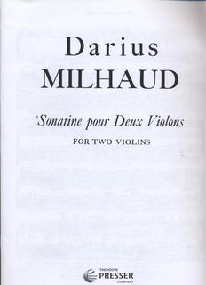 Carl Fischer Milhaud, Darius: Sonatine for Two Violins