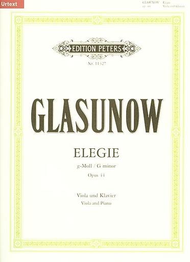 Glazunov (Glasunow): Elegie (Elegy) Op. 44 in g minor (viola & piano)