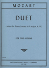 International Music Company Mozart, W.A.: Duet after the Piano Sonata in A major, K.331 (2 violins)