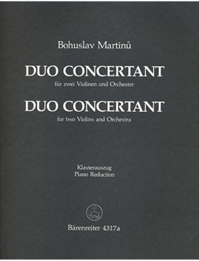 Barenreiter Martinu, Bohuslav: Duo Concertant for Two Violins (2 violins & piano)