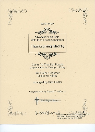 Rich Heffler Music Heffler, Rich: Thanksgiving Medley for Advanced Viola Solo With Piano Accompaniment