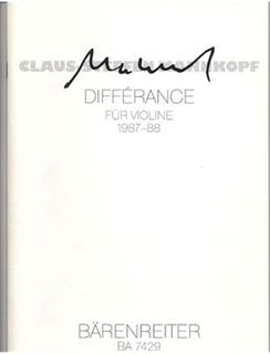 Barenreiter Mahnkopf, Claus-Steffen: Difference fur Violine, 1987/88 (violin solo)