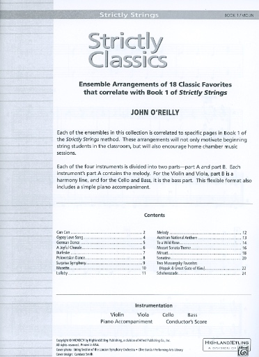 Alfred Music O'Reilly, John: Strictly Strings Classics Book 1 (2 violins) Alfred