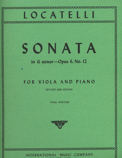 International Music Company Locatelli, Pietro: Sonata in G minor, Op. 6 #12 - revised (viola & piano) IMC