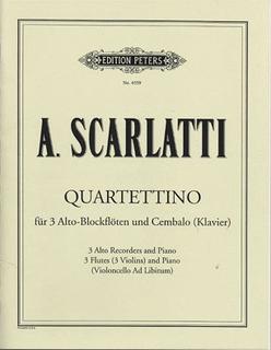 Scarlatti, A.: Quartettino (3 Violins and piano, cello ad lib) score and parts