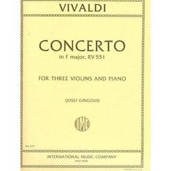 International Music Company Vivaldi, A.: Concerto in F RV551 (3 Violins & Piano)
