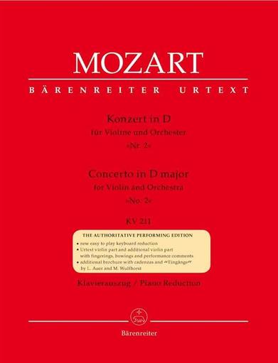 Barenreiter Mozart, W.A. (Mahling): Concerto No. 2 in D, KV 211 (violin/piano) Barenreiter Urtext