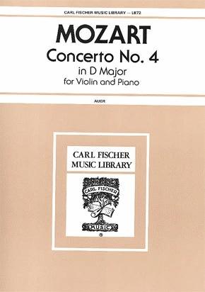 Carl Fischer Mozart, W.A. (Auer): Concerto No. 4 in D Major K.218 (violin & piano)