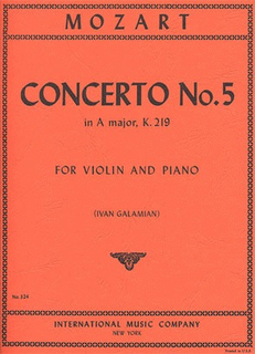 International Music Company Mozart, W.A. (Galamian): Concerto No. 5 in A K. 219 (violin & piano) IMC