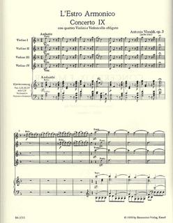 Barenreiter Vivaldi, A.: Concerto #9 in F - L'estro armonico (4 violins & piano)