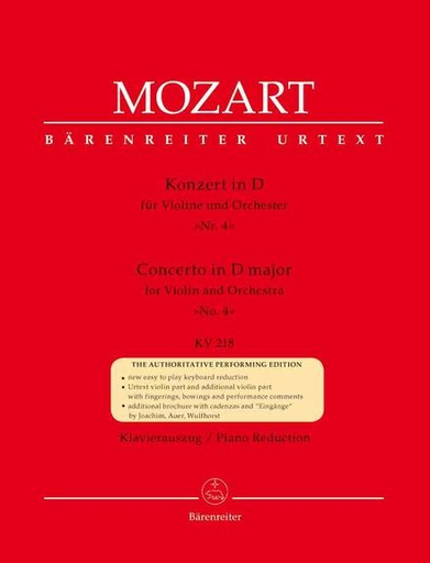Barenreiter Mozart, W.A. (Mahling): (Score) Concerto in D Major for Violin and Orchestra, No.4, KV 218 urtext (violin, and orchestra)