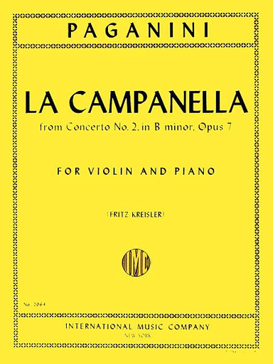 International Music Company Paganini (Kreisler): La Campanella-The Bell (violin & piano)