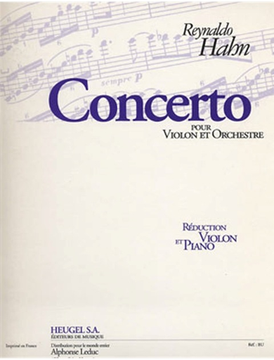 Hahn, Reynaldo: Violin Concerto (Violin & Piano)