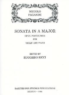 Rarities for Strings Paganini, Niccolo (Ricci): Sonata in A (violin & piano)