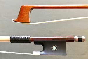 French MARTIN DEVILLERS silver-mounted round Pernambuco violin bow, with Raffin certificate, FRANCE ***CERT***