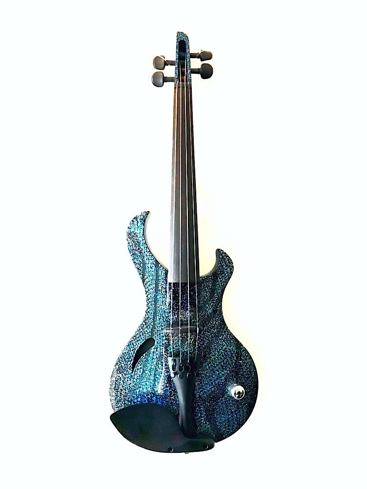 Wood Violins KATANA Sabre 4-String Wood Violin, Blue Sparkle, USA, S/N MW1407007