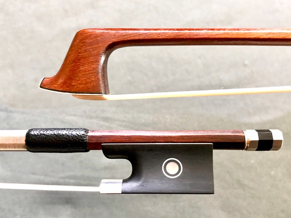 (Damaged) Old Pernambuco violin bow with newer ebony & silver frog & button, Germany