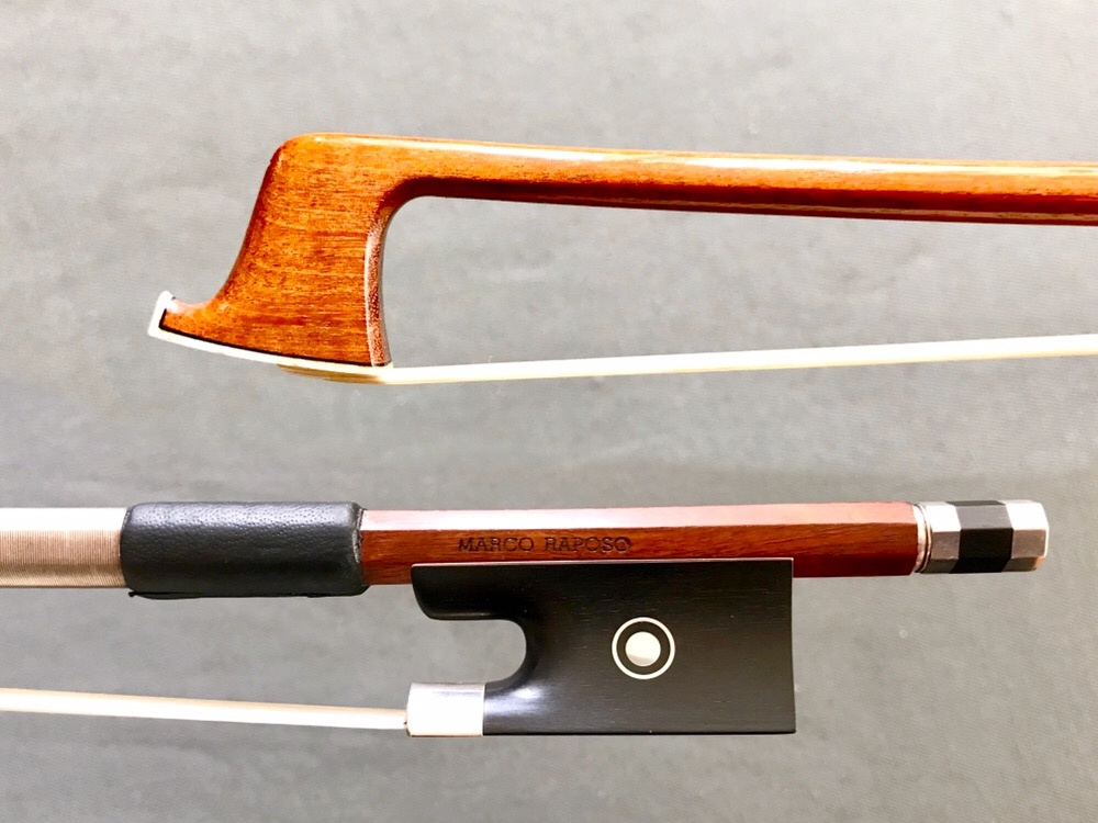 Marco Raposo Marco Raposo 4/4 violin bow, round flamed Pernambuco stick with silver/ebony frog