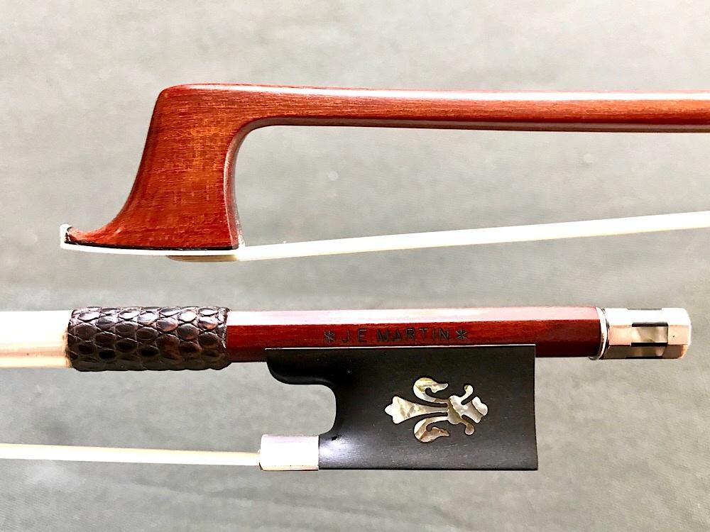 J.E. MARTIN violin bow, silver with Fleur de Lys