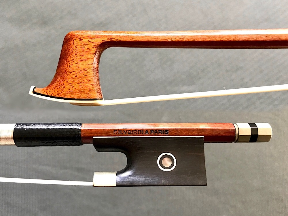 F.N. VOIRIN branded nickel violin bow, octagonal, GERMANY