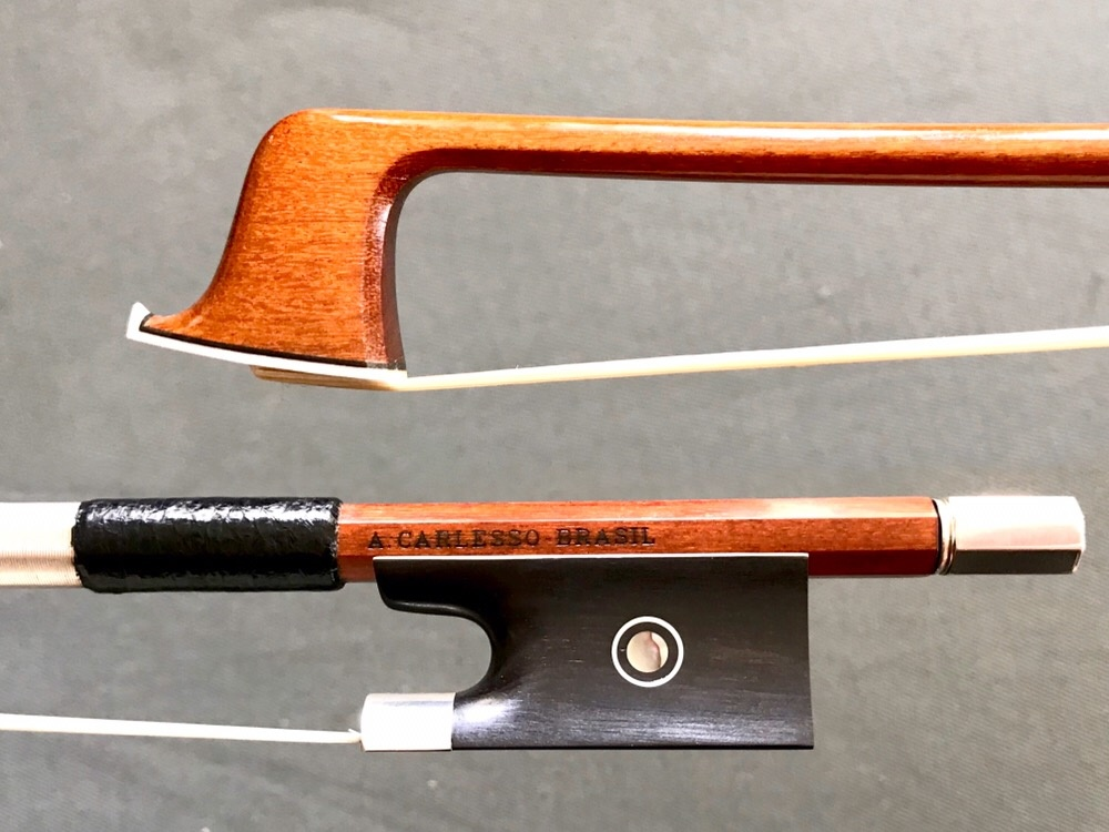 Arcos Brasil A. CARLESSO Sartory replica Pernambuco violin bow by Arcos Brasil, silver-mounted, BRAZIL