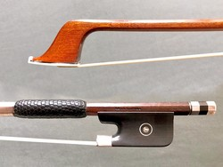 EMILE DUPRÉE octagonal Pernambuco silver & ebony cello bow, 62 g. FRANCE