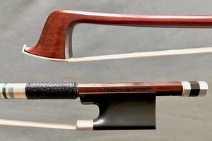 Brazilian MANOEL FRANCISCO Vuillaume-style silver-mounted viola bow, Brazil