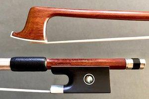 Brazilian S. TRINDADE round Pernamuco nickel-mounted violin bow, BRAZIL, by Arcos Brasil