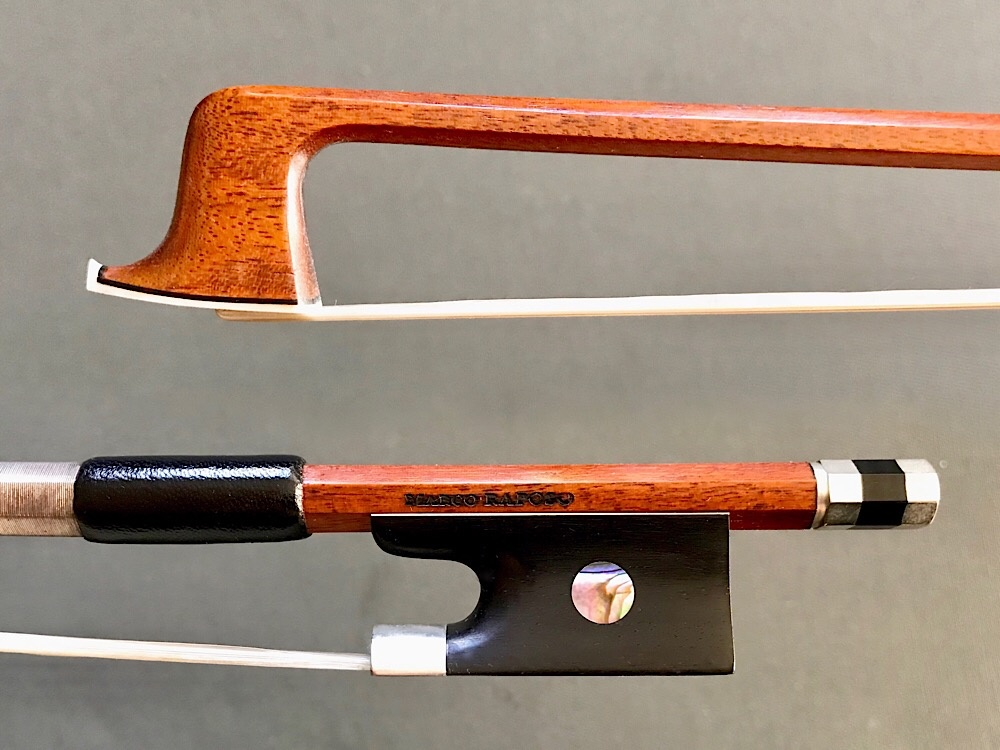 Marco Raposo Marco Raposo 3/4 violin bow, round Pernambuco stick with nickel/ebony frog, BRAZIL
