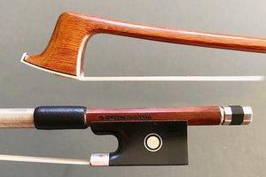Brazilian D. CARVALHO 3/4 Pernambuco violin bow, ebony/silver by Arcos Brasil, BRAZIL