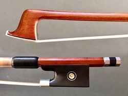 Pernambuco 1/2 violin bow, unbranded, with nickel-mounted ebony frog