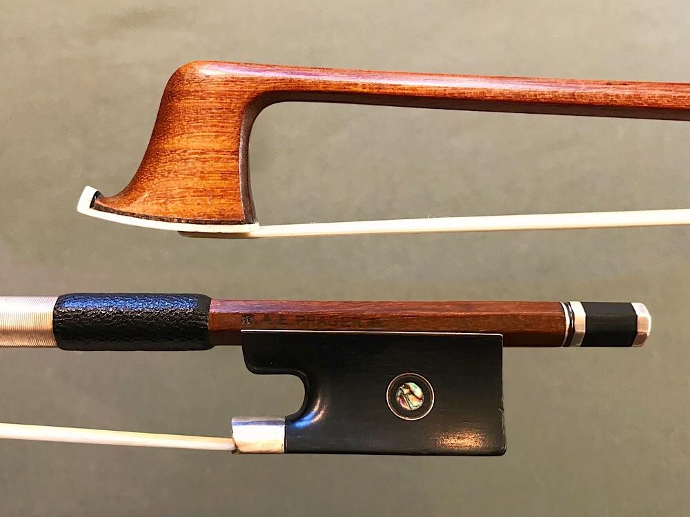 A.E. PRAGER violin bow, silver & ebony, GERMANY