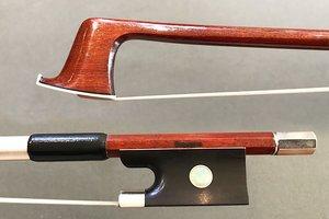 Brazilian SIQUEIRA round Pernambuco violin bow, with half mounted nickel frog, BRAZIL