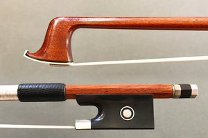 Pernambuco violin bow, unbranded, with nickel-mounted ebony frog