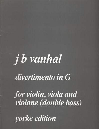 Carl Fischer Vanhal: Divertimento in G (violin, Viola, Bass) score & parts
