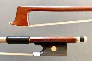 Brazilian JOHN BRASIL octagonal Pernanbuco violin bow, nickel, BRAZIL