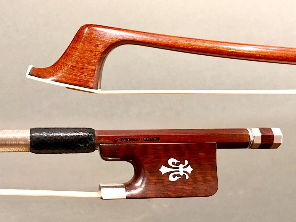 Brazilian D. CHAGAS BRASIL cello bow, silver/snakewood frog