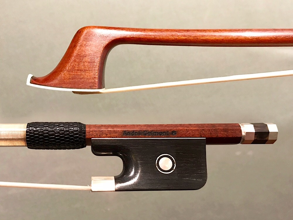 André Delmont * round Pernambuco cello bow, ebony & silver, GERMANY