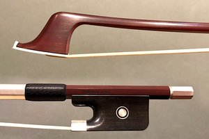 Japanese GUY JEANDEL round Pernambuco cello bow, silver & ebony, JAPAN
