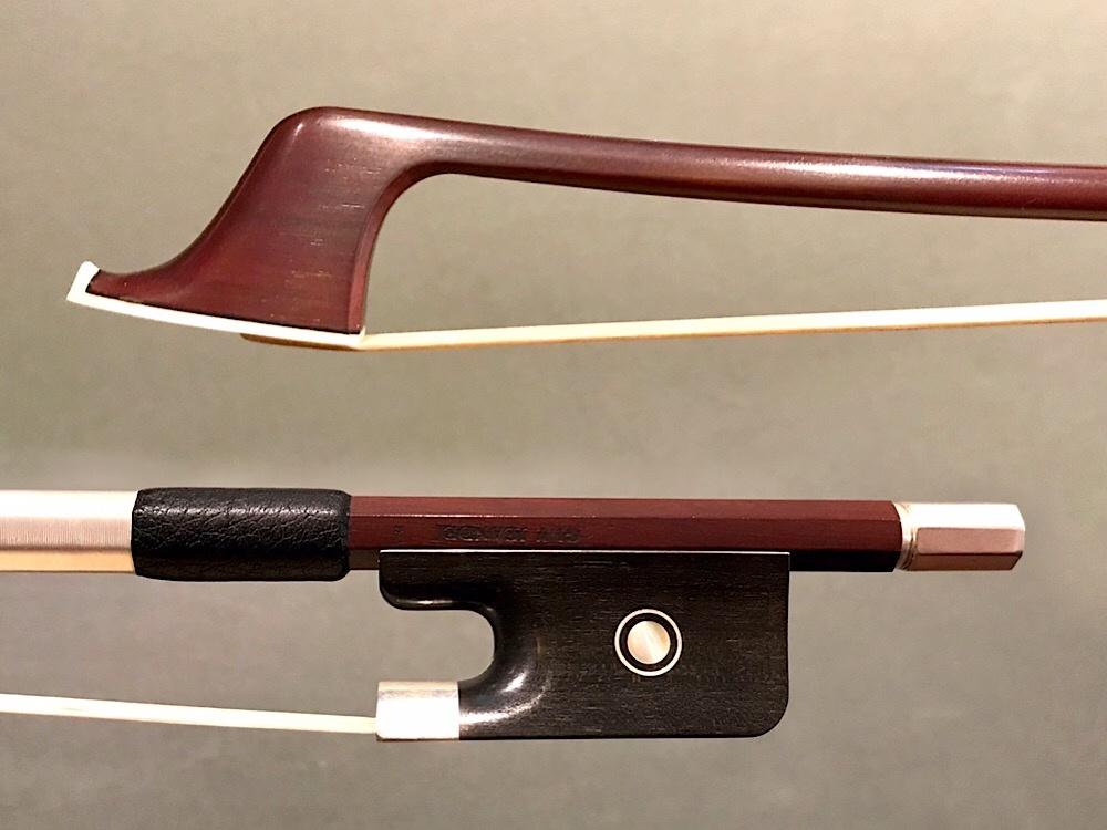 Japanese GUY JEANDEL round Pernambuco cello bow, silver & ebony, JAPAN