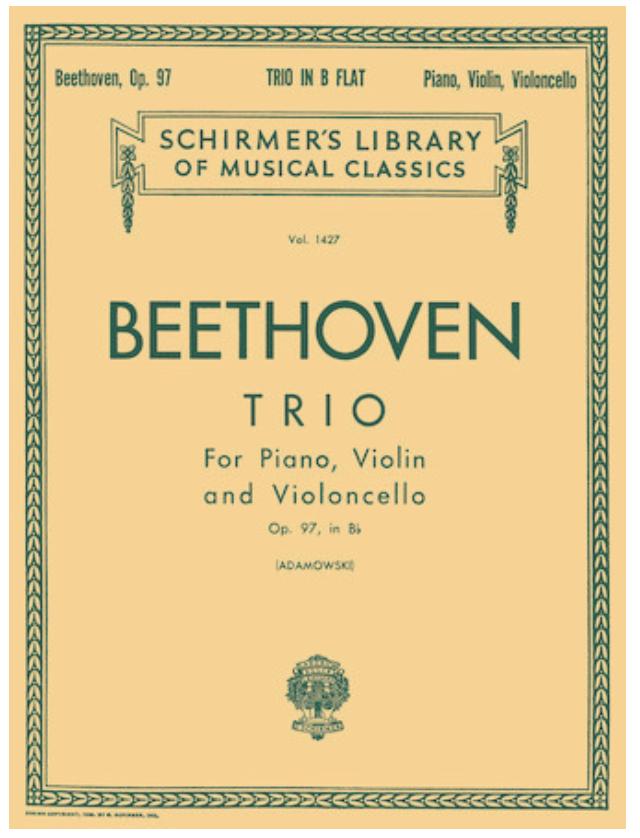 HAL LEONARD Beethoven: Trio for Piano, Violin & Cello Op.97 in Bb